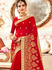 Red Faux Georgette Classic Designer Saree