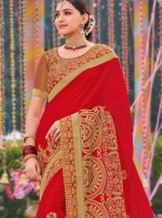 Red Faux Georgette Designer Traditional Saree