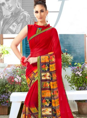 Red Faux Georgette Mehndi Casual Saree