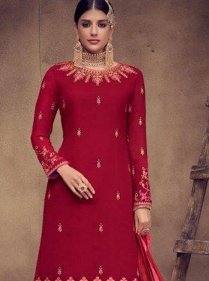 Red Faux Georgette Palazzo Designer Salwar Kameez