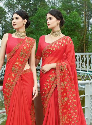 Red Faux Georgette Patch Border Classic Designer Saree