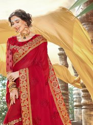 Red Faux Georgette Patch Border Classic Saree
