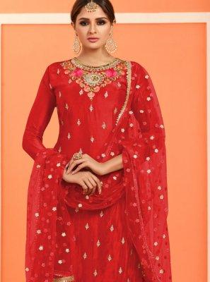 Red Faux Georgette Resham Designer Pakistani Suit