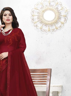 Red Festival Casual Saree