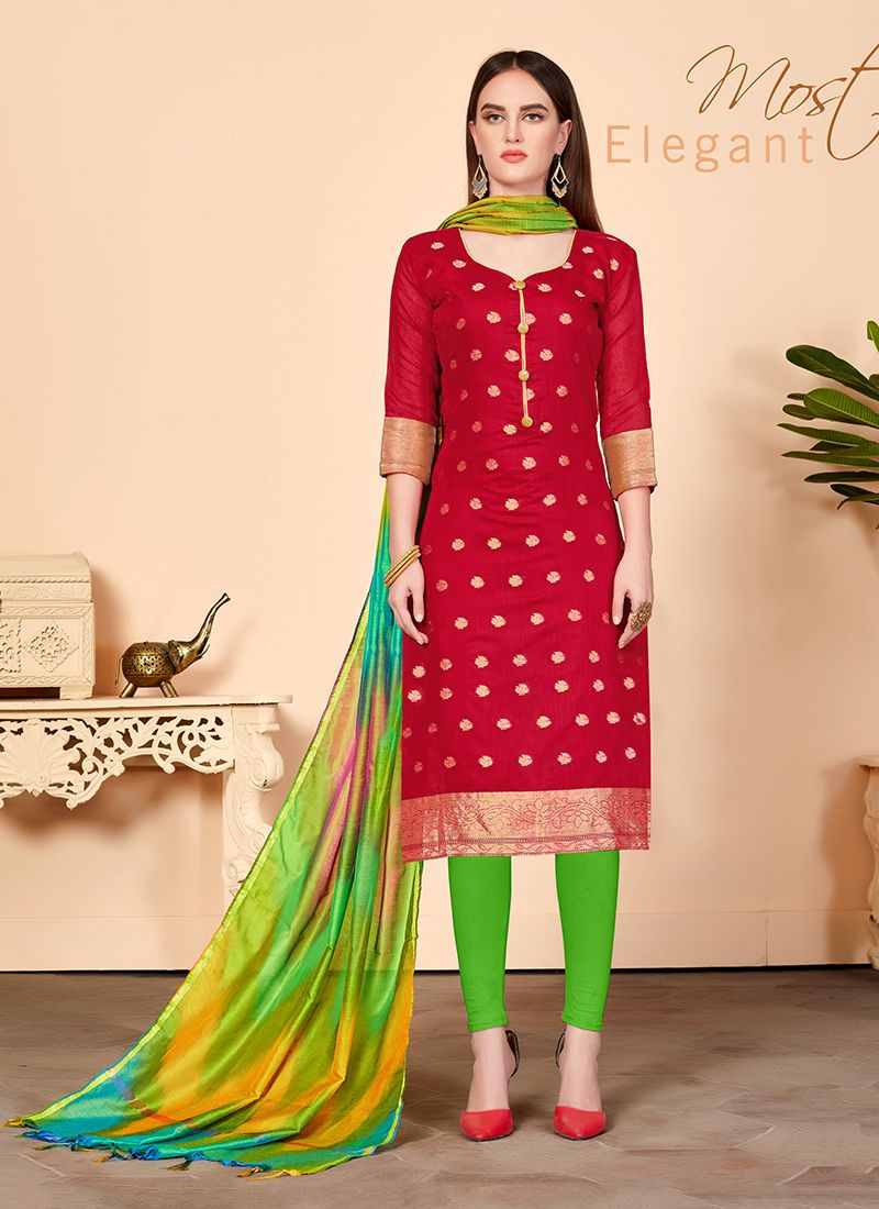 Red Festival Churidar Salwar Suit