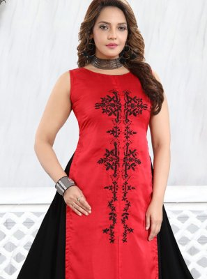 Red Festival Faux Georgette Party Wear Kurti