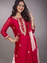 Red Festival Faux Georgette Readymade Suit