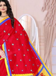 Red Festival Poly Cotton Printed Saree