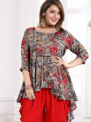Red Festival Rayon Party Wear Kurti