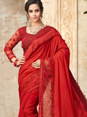 Red Festival Silk Traditional Saree