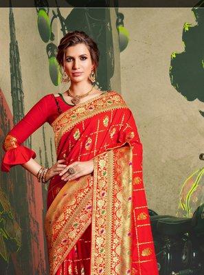 Red Festival Traditional Designer Saree