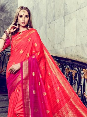 Red Foil print Trendy Saree