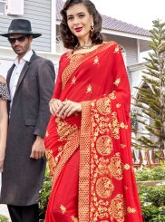 Red Georgette Embroidered Classic Saree