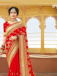 Red Georgette Sangeet Classic Saree