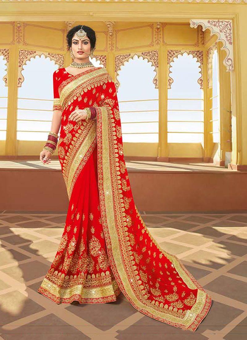 Red Georgette Sangeet Classic Saree