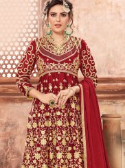 Red Georgette Satin Designer Pakistani Suit