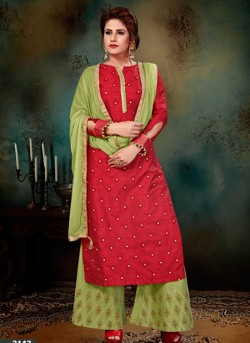 Red Jacquard Embroidered Designer Palazzo Suit
