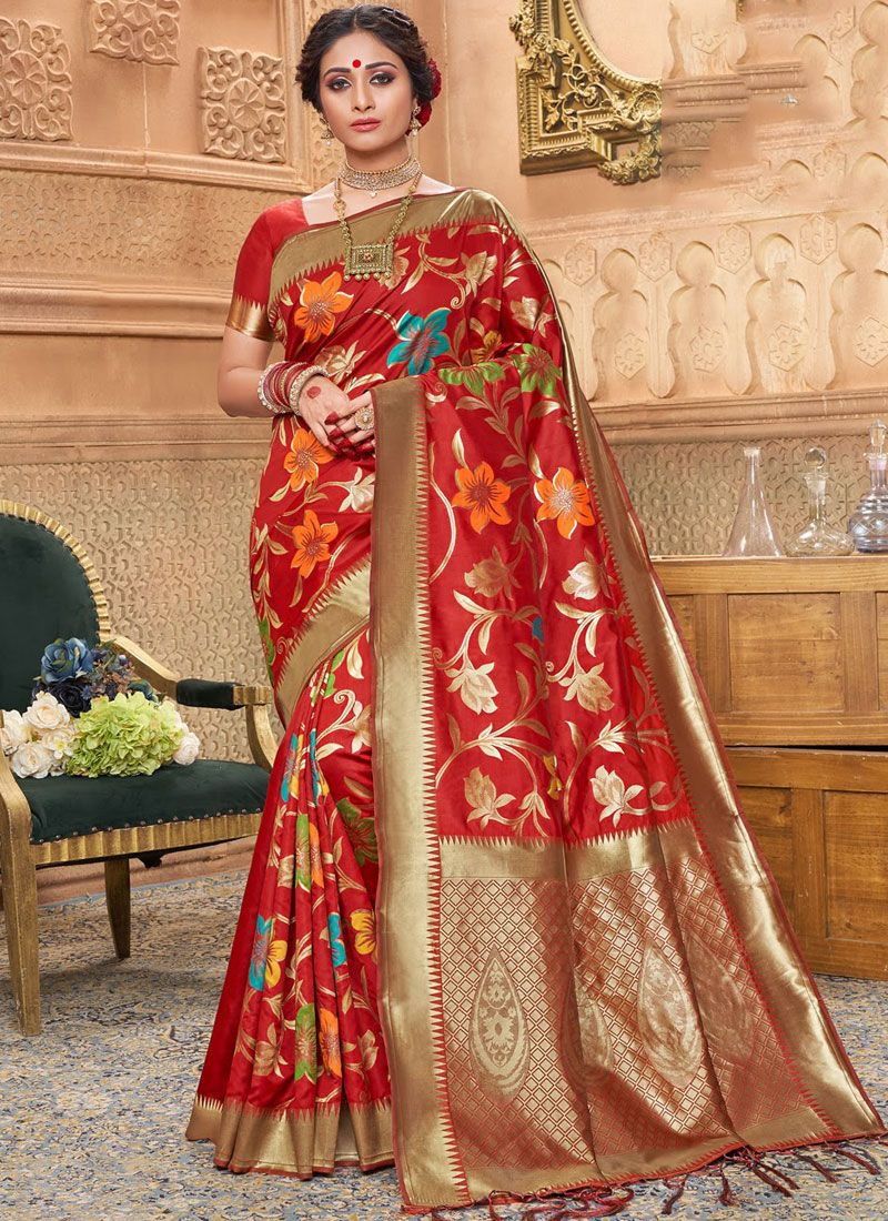Red Jacquard Silk Traditional Designer Saree
