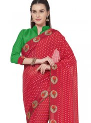 Red Lace Casual Saree