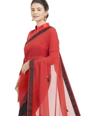 Red Lace Faux Georgette Shaded Saree