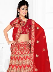 Red Lace Satin Silk Lehenga Choli
