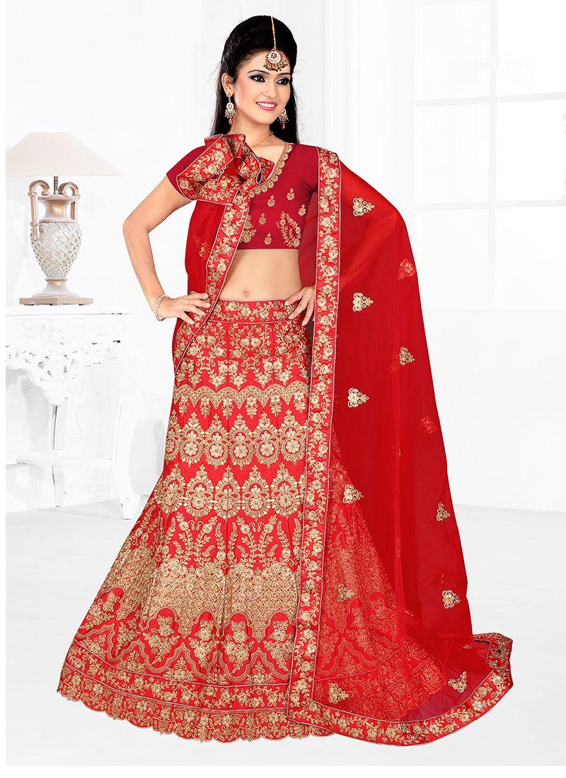 Red Lace Satin Silk Lehenga Choli
