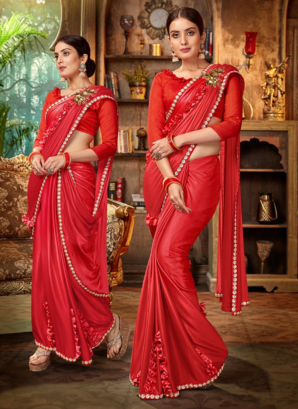 Red Lycra Saree