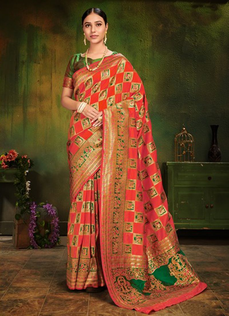 Red Machine Embroidery  Patola Silk  Classic Designer Saree