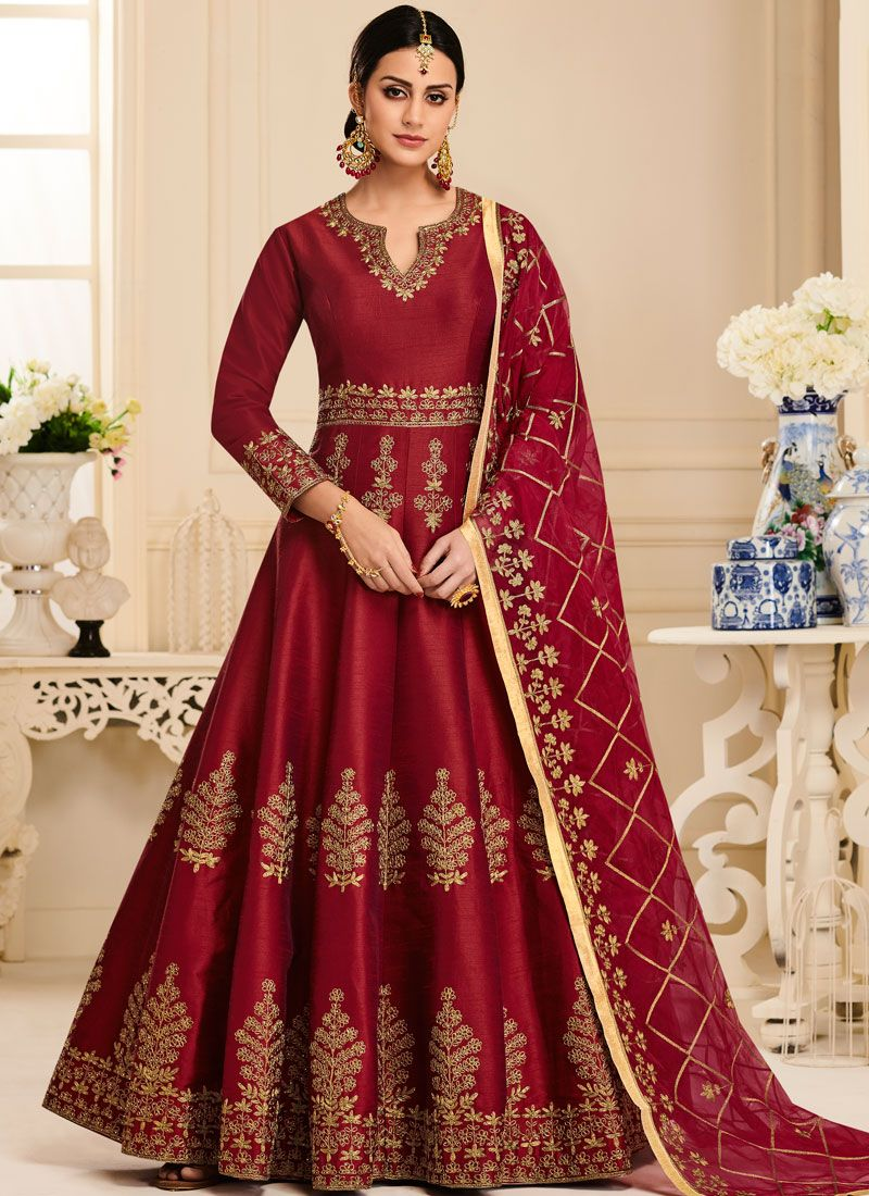Red Malbari Silk  Embroidered Anarkali Salwar Kameez