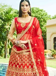 Red Mehndi Art Silk Lehenga Choli