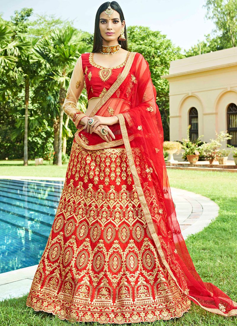 Red Mehndi Art Silk Lehenga Choli