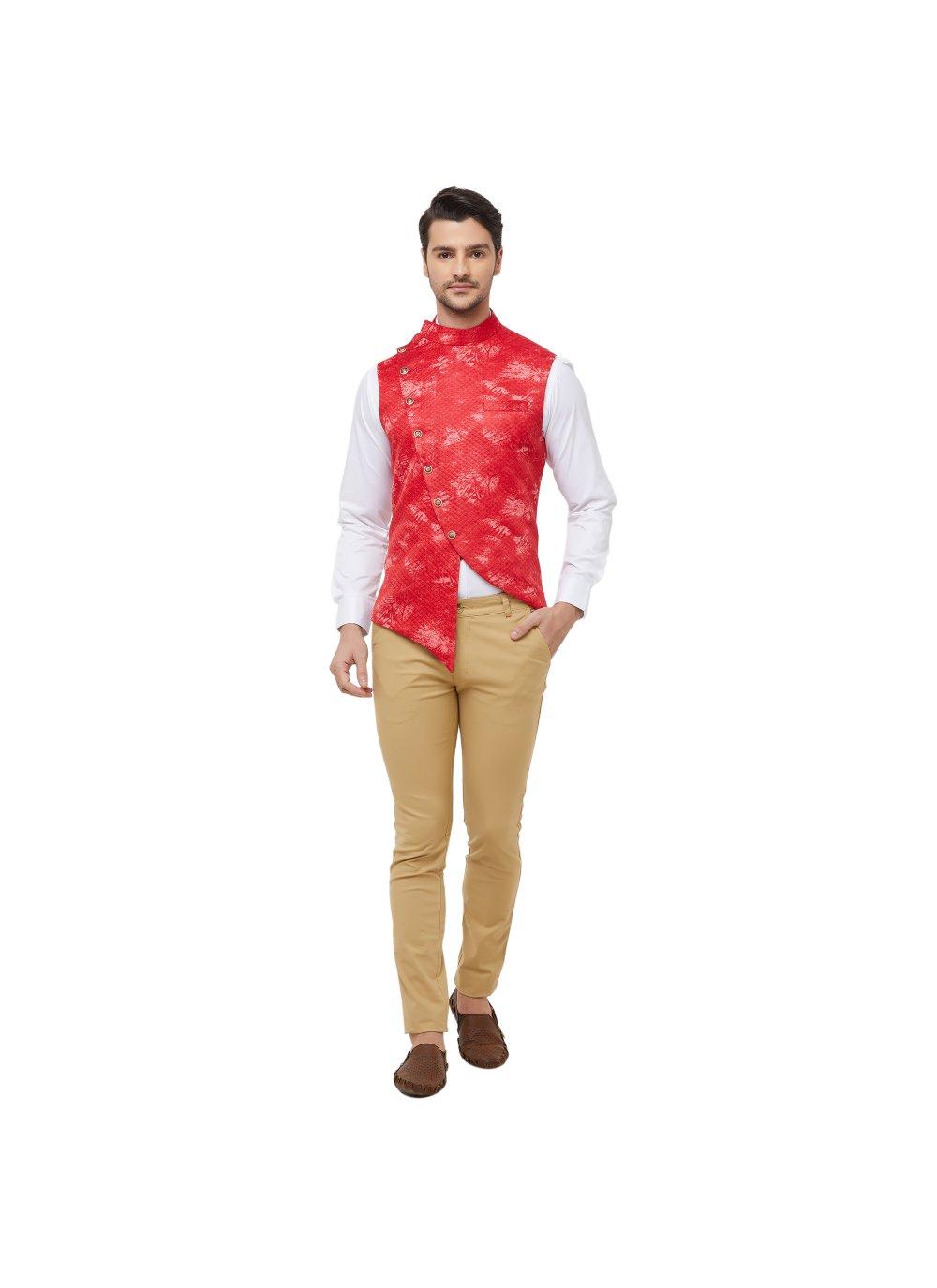 Red Mehndi Art Silk Nehru Jackets