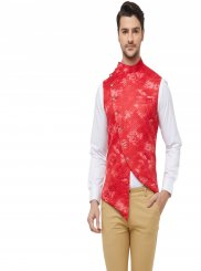 Red Mehndi Art Silk Nehru Jackets
