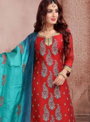 Red Mehndi Banarasi Silk Churidar Suit