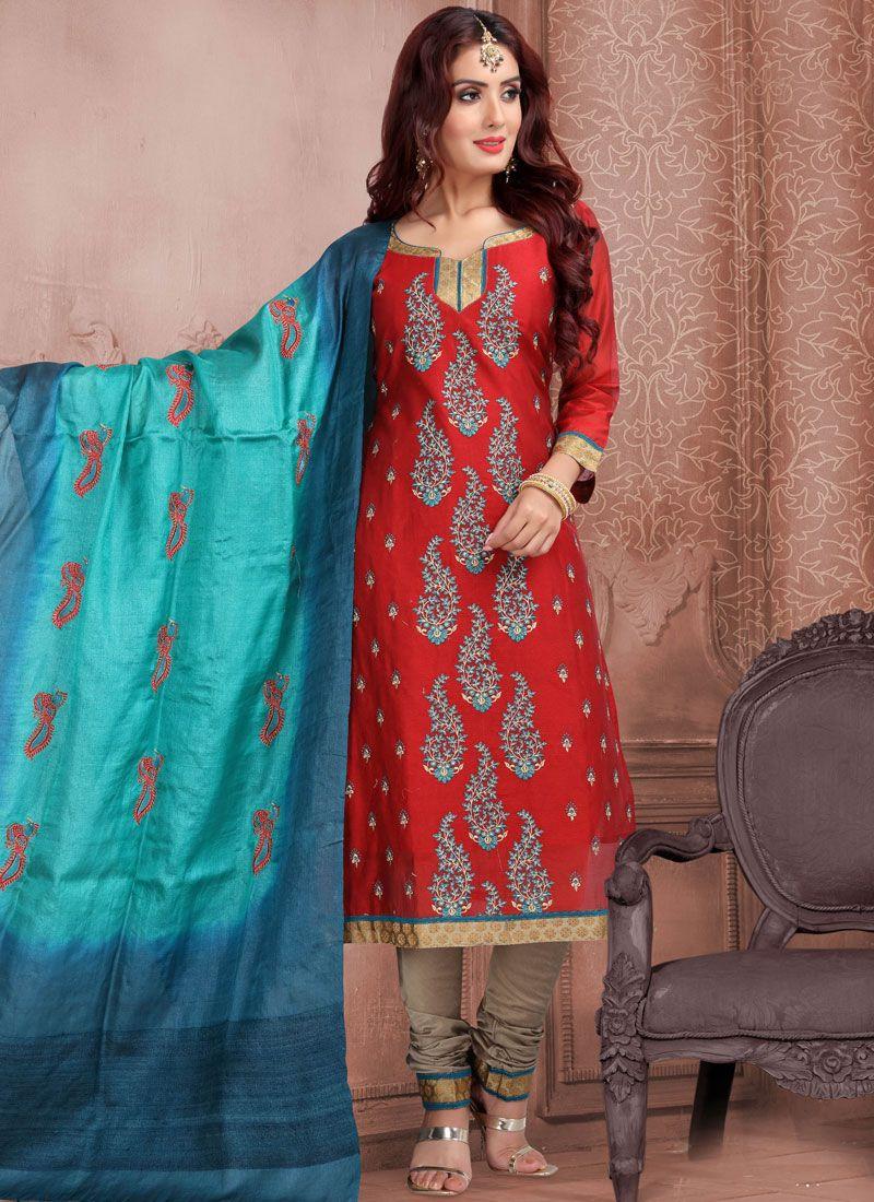 Red Mehndi Banarasi Silk Churidar Suit