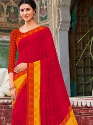 Red Mehndi Casual Saree