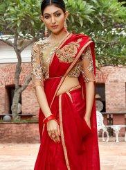 Red Mehndi Classic Designer Saree