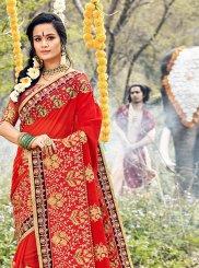 Red Mehndi Classic Saree