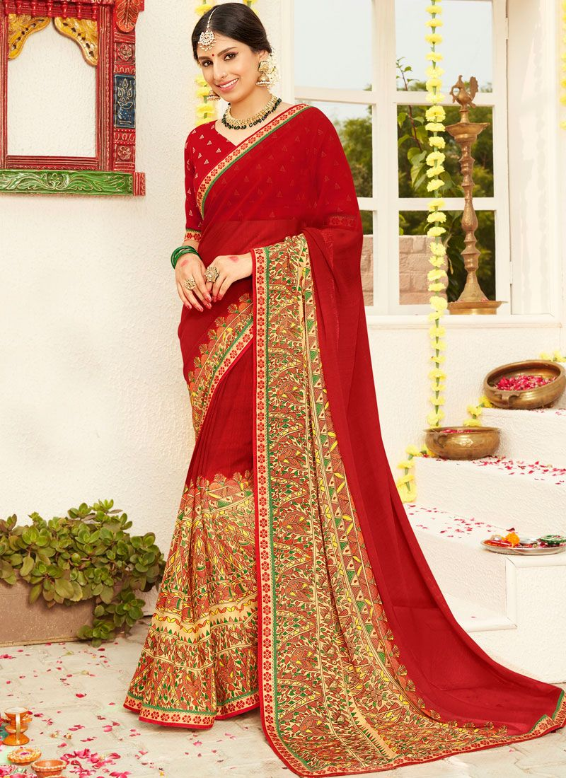 Red Mehndi Faux Georgette Classic Saree