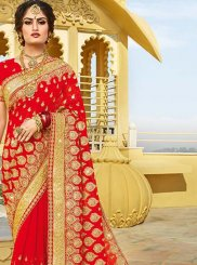 Red Mehndi Georgette Designer Saree