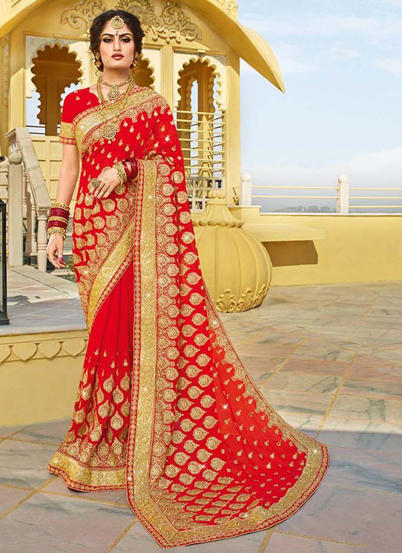 Red Mehndi Georgette Designer Saree