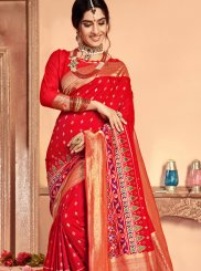 Red Mehndi Patola Silk  Classic Saree