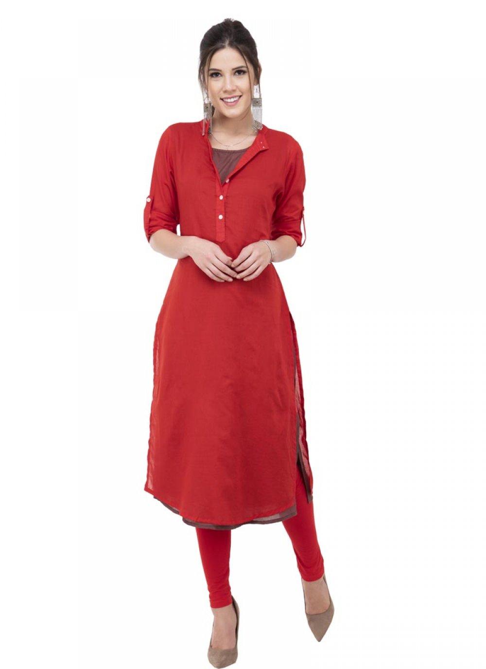 Red Mehndi Rayon Designer Kurti