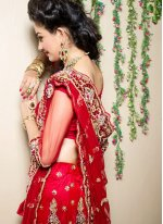 Red Mehndi Trendy Lehenga Choli