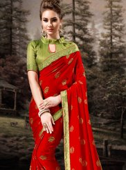 Red Mehndi Trendy Saree