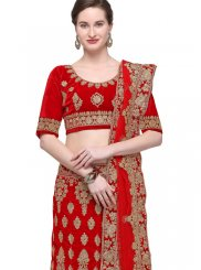 Red Mehndi Velvet Trendy Lehenga Choli