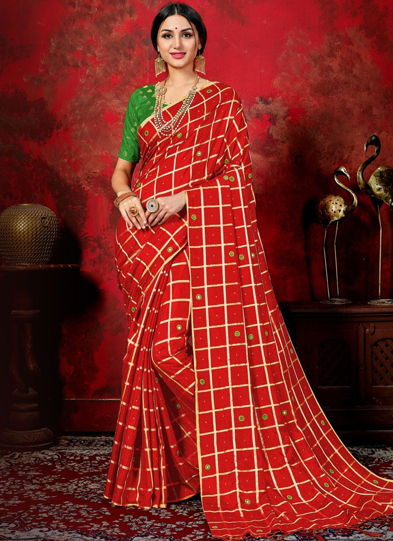 Red Mirror Silk Trendy Saree