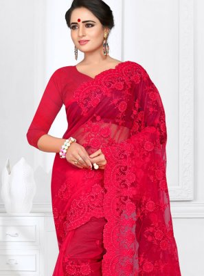 Red Net Classic Saree