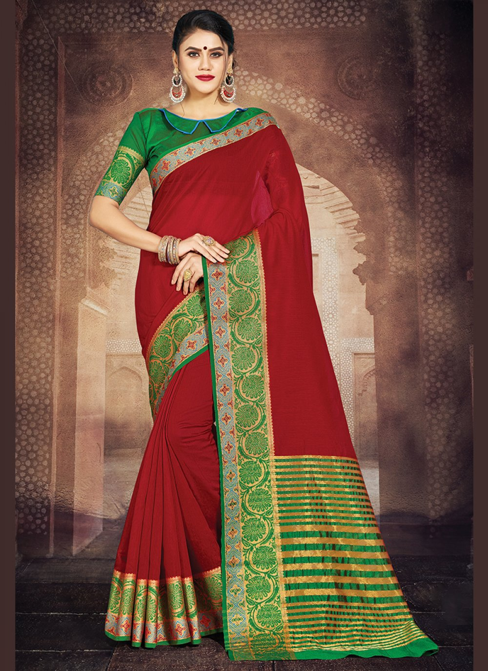 Red Party Casual Saree