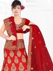 Red Party Satin Silk Trendy Designer Lehenga Choli